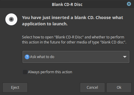 Ignore blank CD-ROM on Linux