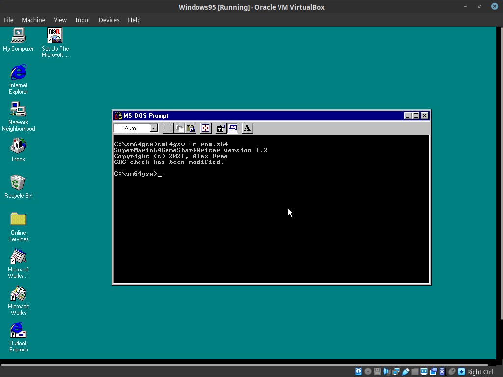 Bypassing the CIC check in a ROM file on Windows 95
